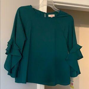 Dark green girls XL blouse... ruffled sleeve